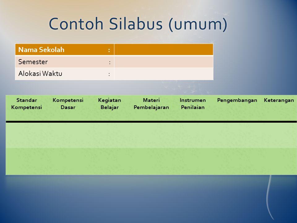Contoh Silabus (umum)Contoh Silabus (umum) Standar Kompetensi Kompetensi Dasar Kegiatan Belajar Materi Pembelajaran Instrumen Penilaian PengembanganKe