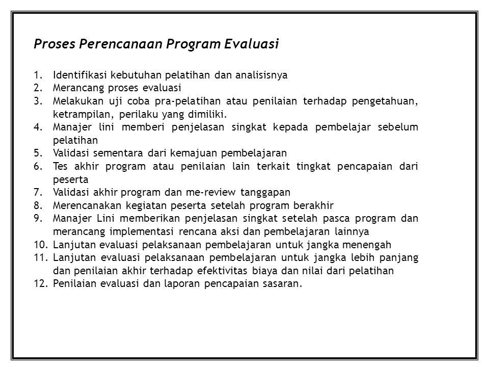 Proses Perencanaan Program Evaluasi 1.Identifikasi kebutuhan pelatihan dan analisisnya 2.Merancang proses evaluasi 3.Melakukan uji coba pra-pelatihan atau penilaian terhadap pengetahuan, ketrampilan, perilaku yang dimiliki.