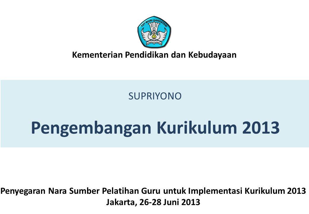 SUPRIYONO Pengembangan Kurikulum 2013 Penyegaran Nara Sumber Pelatihan Guru untuk Implementasi Kurikulum 2013 Jakarta, 26-28 Juni 2013 Kementerian Pen