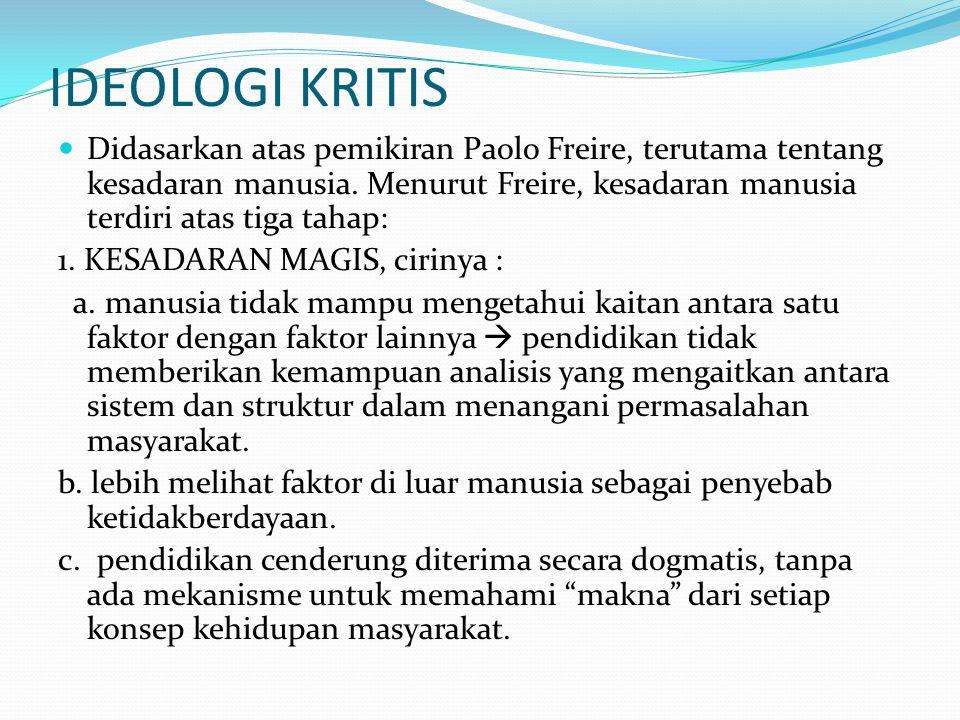 IDEOLOGI KRITIS Didasarkan atas pemikiran Paolo Freire, terutama tentang kesadaran manusia. Menurut Freire, kesadaran manusia terdiri atas tiga tahap: