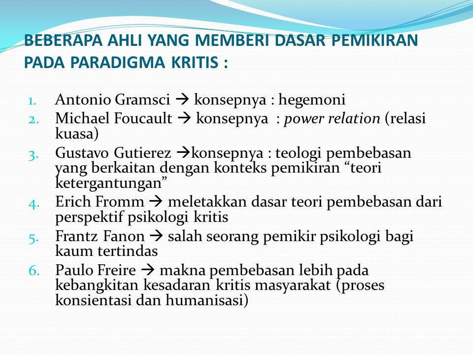 BEBERAPA AHLI YANG MEMBERI DASAR PEMIKIRAN PADA PARADIGMA KRITIS : 1. Antonio Gramsci  konsepnya : hegemoni 2. Michael Foucault  konsepnya : power r