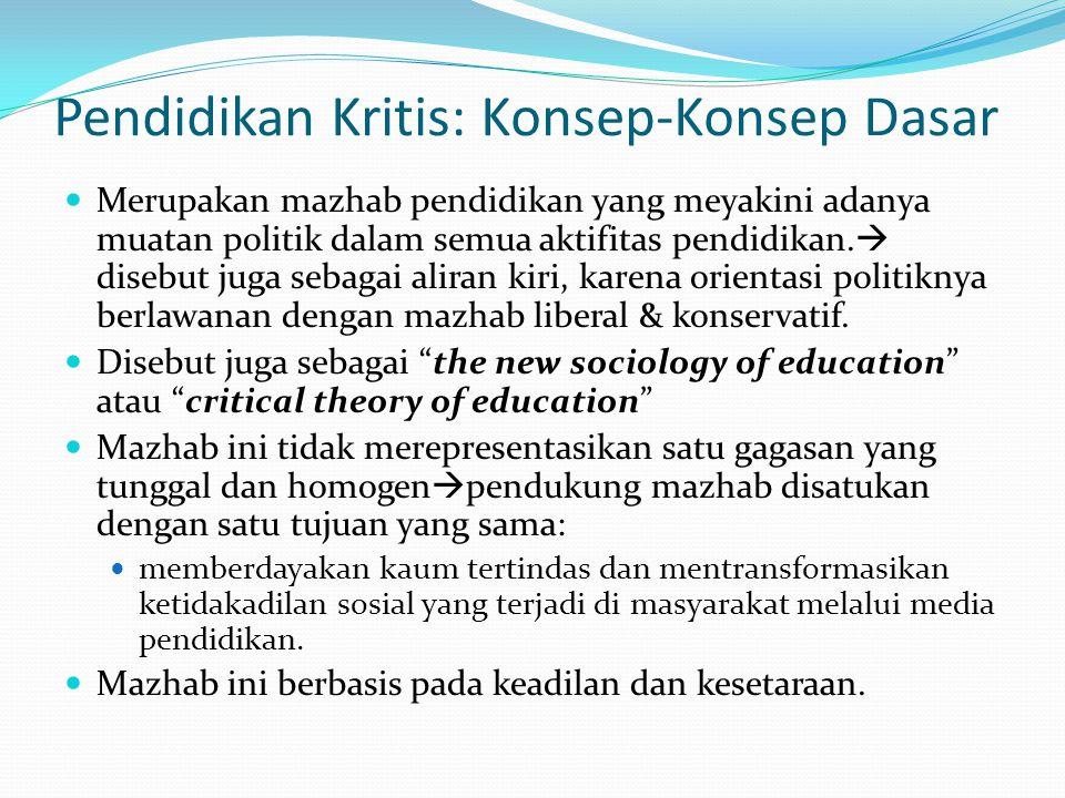 Pendidikan Kritis: Konsep-Konsep Dasar Merupakan mazhab pendidikan yang meyakini adanya muatan politik dalam semua aktifitas pendidikan.  disebut jug