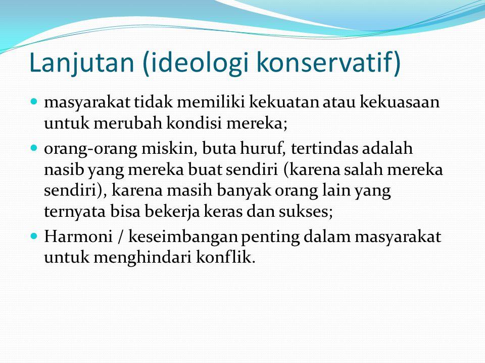 Lanjutan (ideologi konservatif) masyarakat tidak memiliki kekuatan atau kekuasaan untuk merubah kondisi mereka; orang-orang miskin, buta huruf, tertin