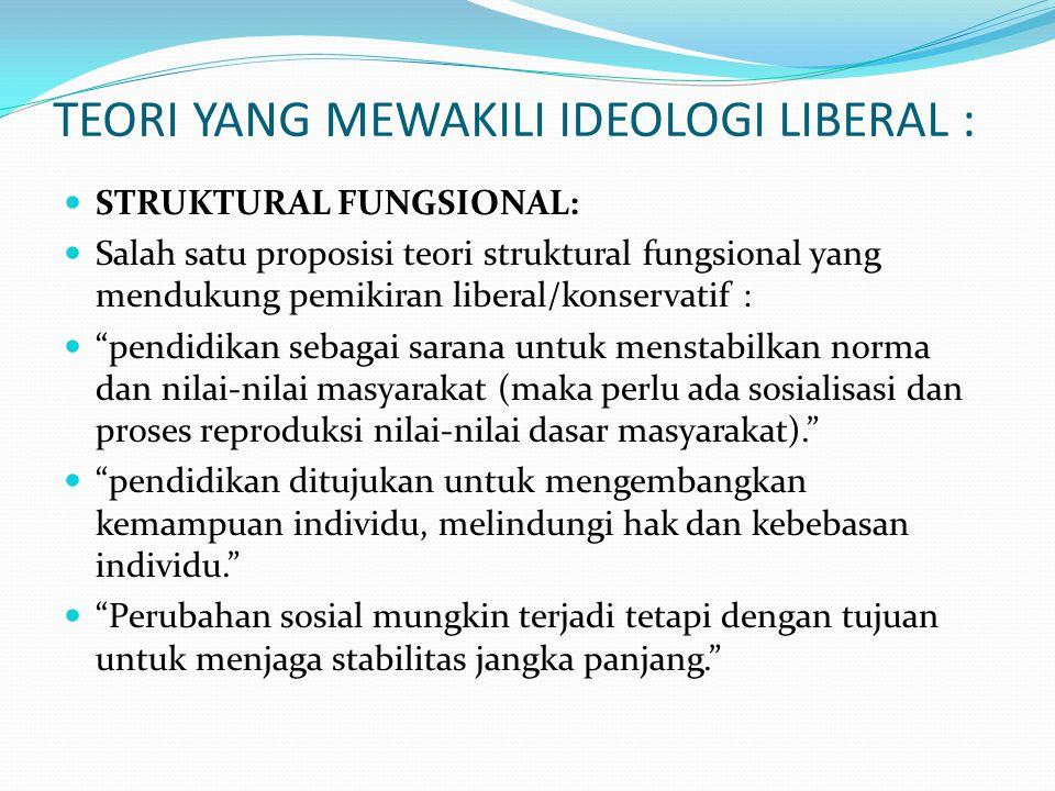 TEORI YANG MEWAKILI IDEOLOGI LIBERAL : STRUKTURAL FUNGSIONAL: Salah satu proposisi teori struktural fungsional yang mendukung pemikiran liberal/konser