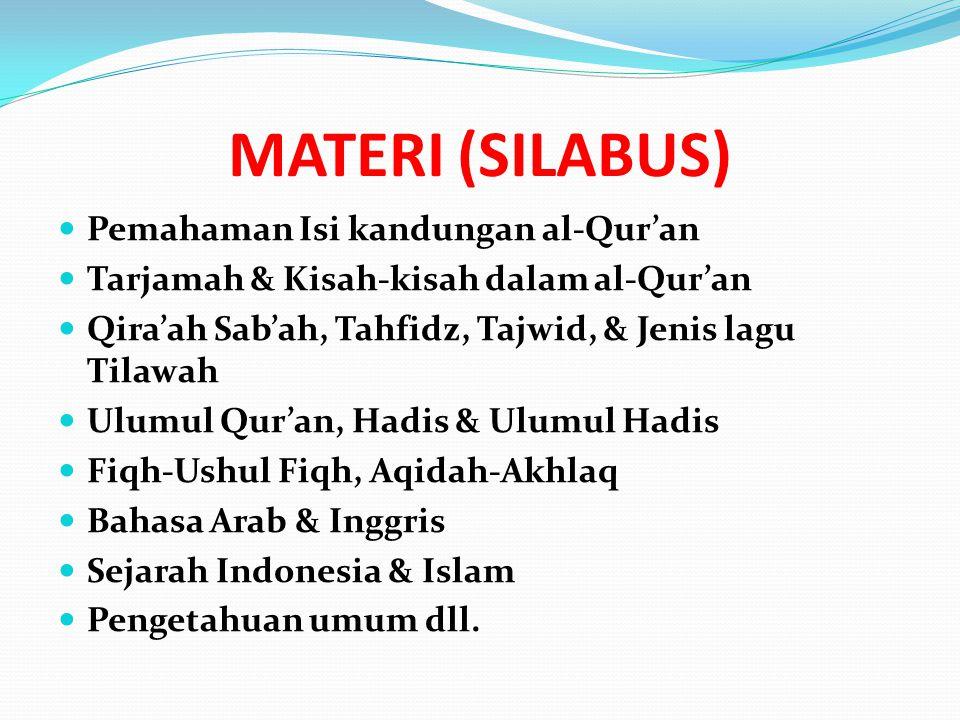 MATERI (SILABUS) Pemahaman Isi kandungan al-Qur'an Tarjamah & Kisah-kisah dalam al-Qur'an Qira'ah Sab'ah, Tahfidz, Tajwid, & Jenis lagu Tilawah Ulumul Qur'an, Hadis & Ulumul Hadis Fiqh-Ushul Fiqh, Aqidah-Akhlaq Bahasa Arab & Inggris Sejarah Indonesia & Islam Pengetahuan umum dll.