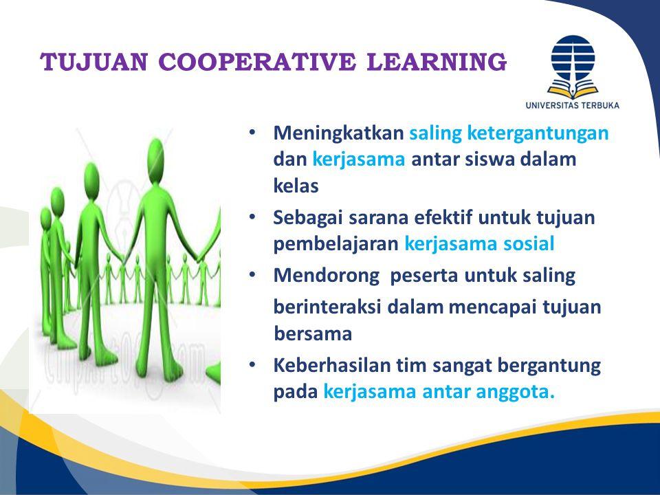 TUJUAN COOPERATIVE LEARNING Meningkatkan saling ketergantungan dan kerjasama antar siswa dalam kelas Sebagai sarana efektif untuk tujuan pembelajaran