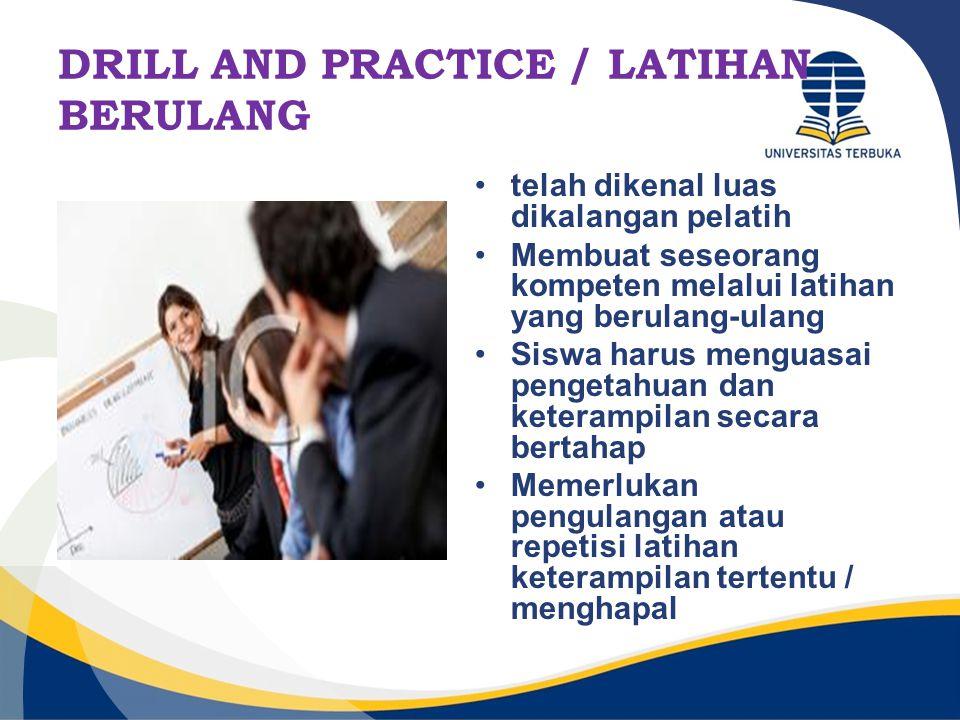 DRILL AND PRACTICE / LATIHAN BERULANG telah dikenal luas dikalangan pelatih Membuat seseorang kompeten melalui latihan yang berulang-ulang Siswa harus
