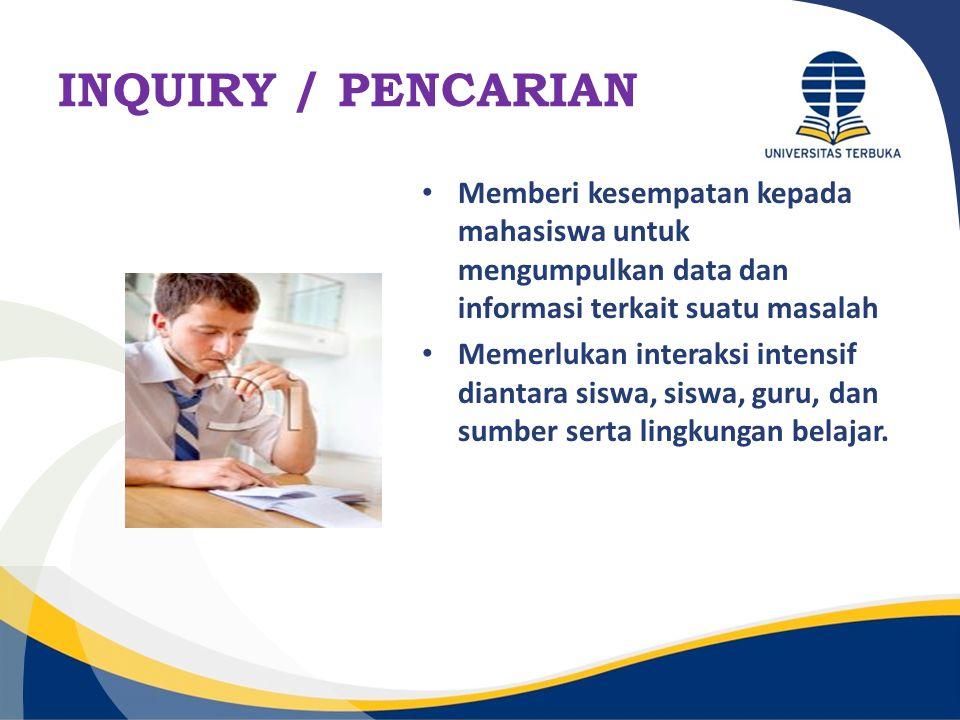 INQUIRY / PENCARIAN Memberi kesempatan kepada mahasiswa untuk mengumpulkan data dan informasi terkait suatu masalah Memerlukan interaksi intensif dian