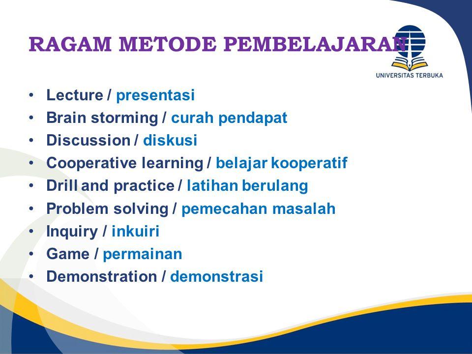 METODE PEMBELAJARAN PresentasiDiskusiBrainstorming Cooperative learning Inquiry Drill & Practice Simulasi Permainan (games) Demonstrasi