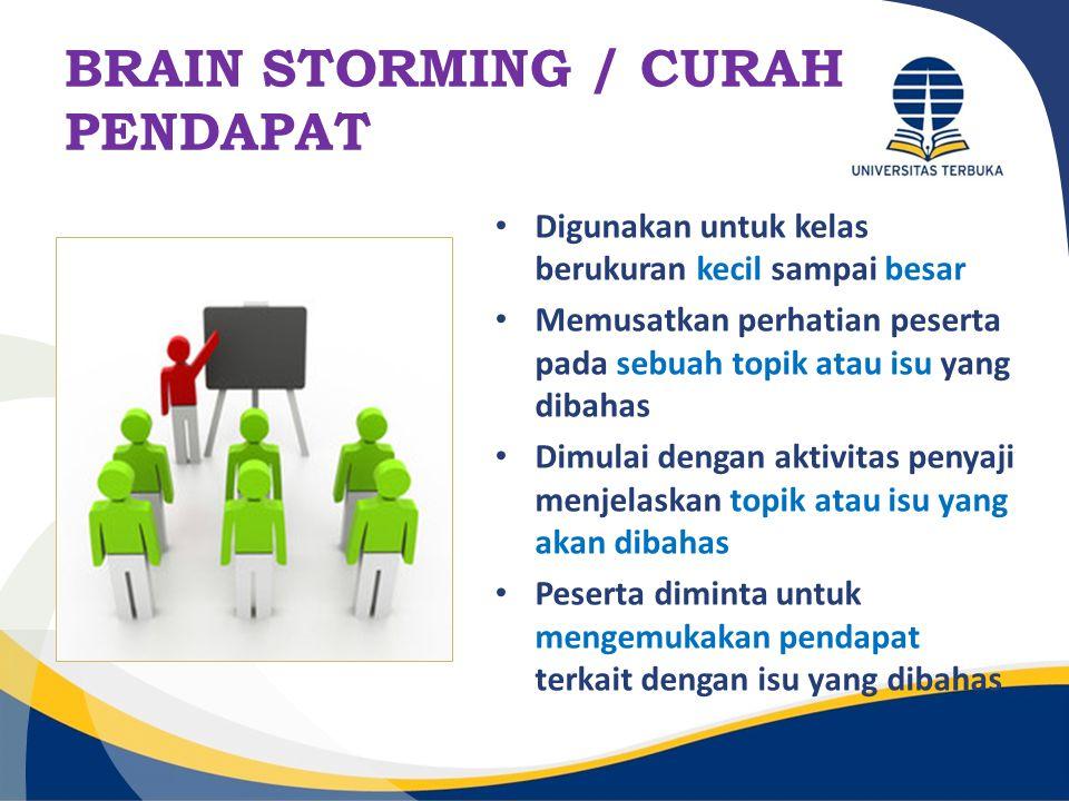 BRAIN STORMING / CURAH PENDAPAT Digunakan untuk kelas berukuran kecil sampai besar Memusatkan perhatian peserta pada sebuah topik atau isu yang dibaha