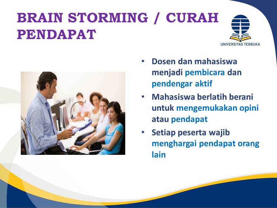 BRAIN STORMING / CURAH PENDAPAT Dosen dan mahasiswa menjadi pembicara dan pendengar aktif Mahasiswa berlatih berani untuk mengemukakan opini atau pend