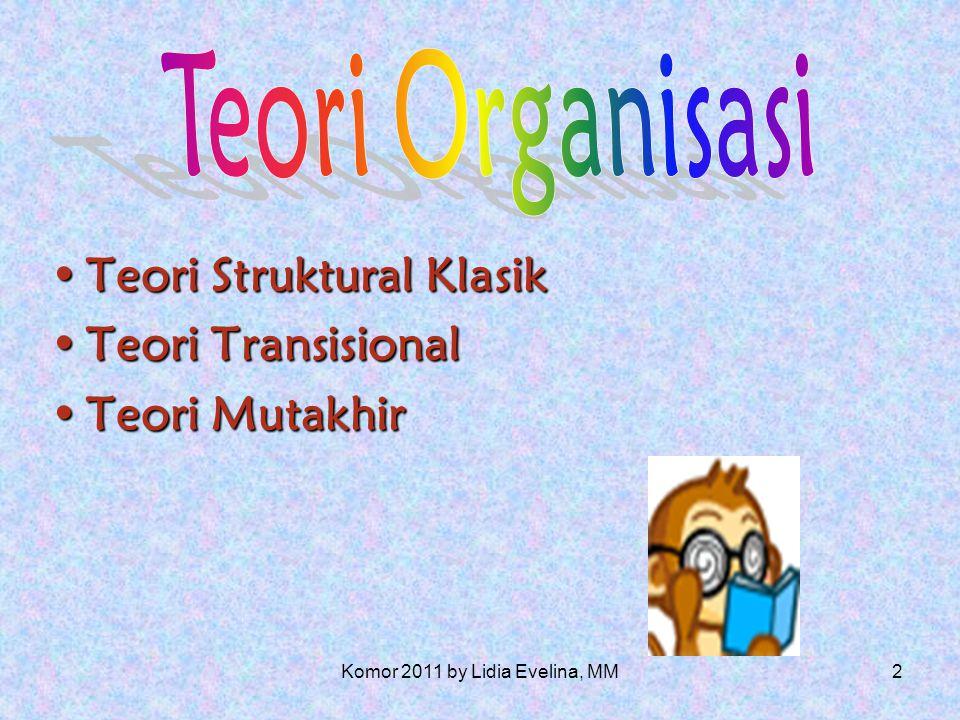 1 Teori Organisasi Dosen : Dra. Lidia Evelina, MM Komor 2011 by Lidia Evelina, MM