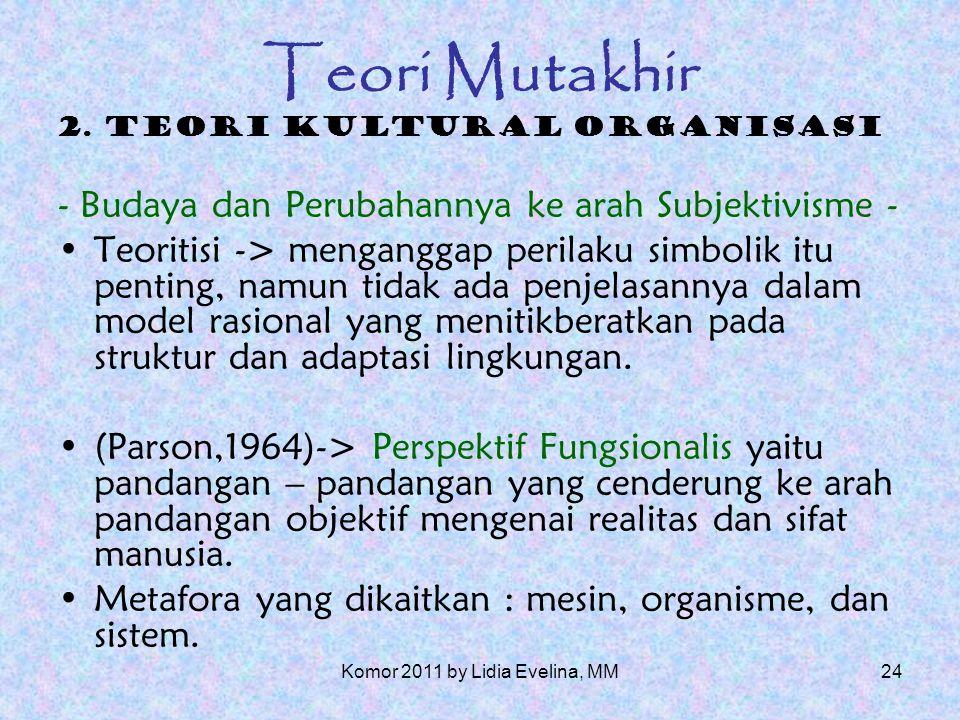23 Teori Mutakhir Implikasi-implikasi (dampak) bagi komunikasi organisasi Mempelajari organisasi adalah mempelajari perilaku pengorganisasian.
