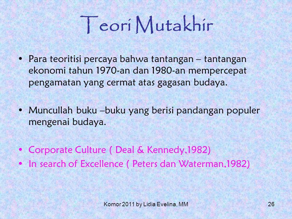 25 Teori Mutakhir (Morgan,1980) Perspektif Interpretif yaitu pandangan subyektif mengenai realitas dan sifat manusia.