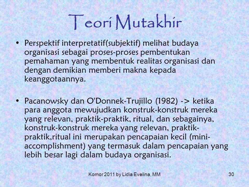 29 Teori Mutakhir Louis (1985)-> menyatakan bahwa budaya suatu kelompok dapat digolongkan sebagai seperangkat pemahaman/makna yang dimiliki bersama oleh sekelompok orang.