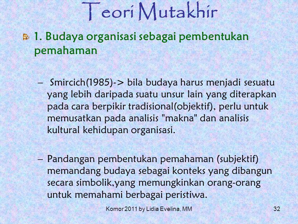 31 Teori Mutakhir (Dandridge, Mitroff dan Joyce, 1980) Peraga dan indikator budaya dapat pula dimasukkan dalam rubrik luas -> simbolisme organisasi.