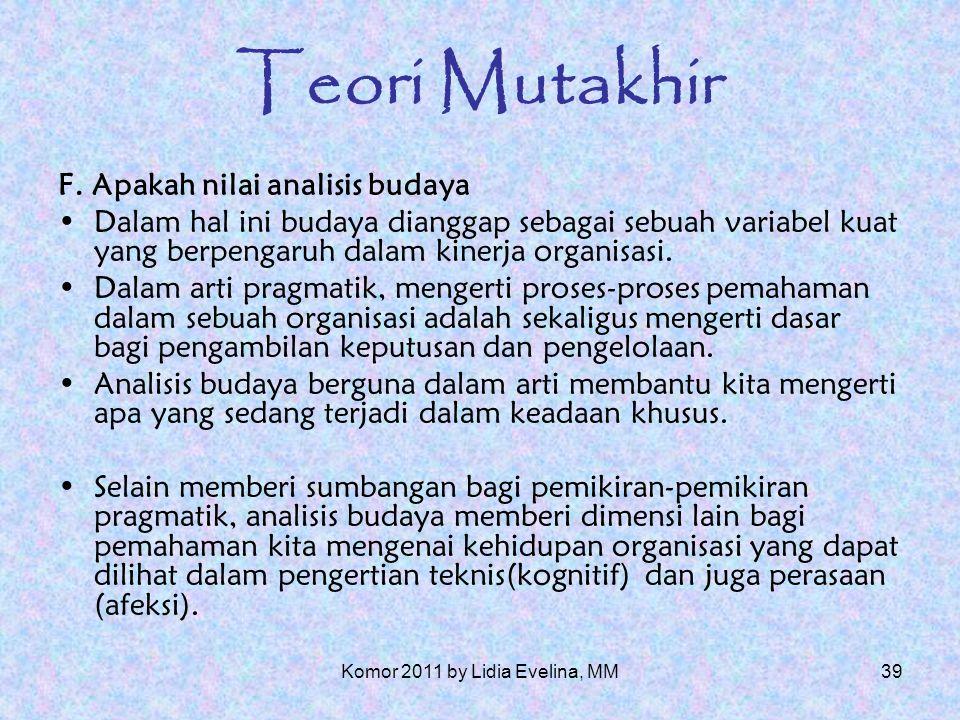 38 Teori Mutakhir E.Bagaimana seharusnya analisis budaya dievaluasi.