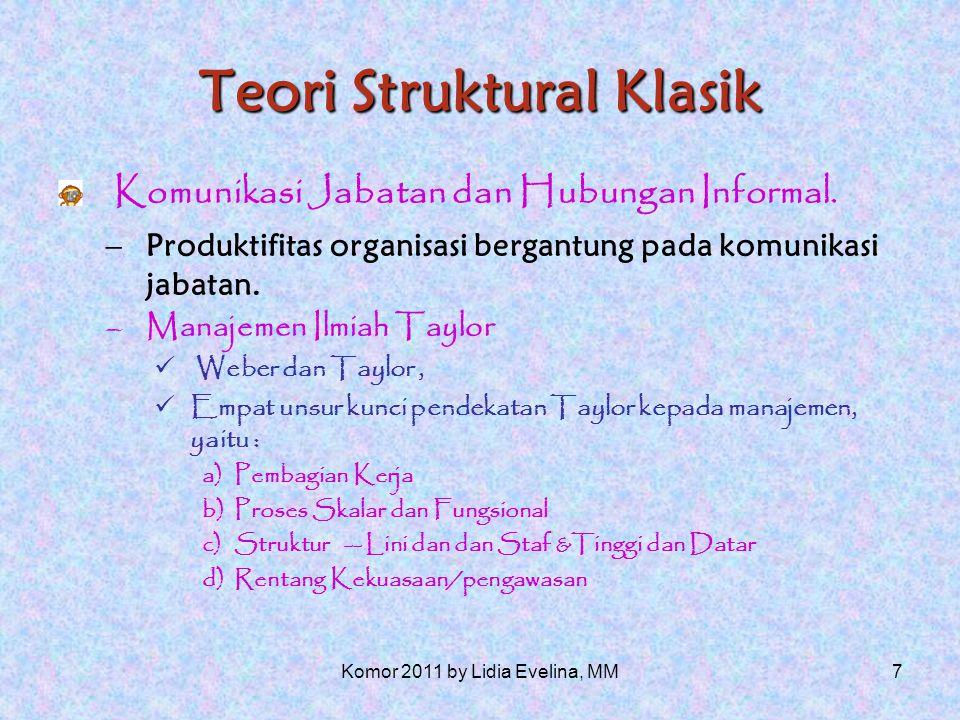 6 Teori Struktural Klasik Ciri-ciri Organisasi terbirokratisasi yang ideal menurut karya Weber, adalah : 1.Suatu organisasi terdiri dari hubungan-hubungan yang diterapkan antara jabatan-jabatan.