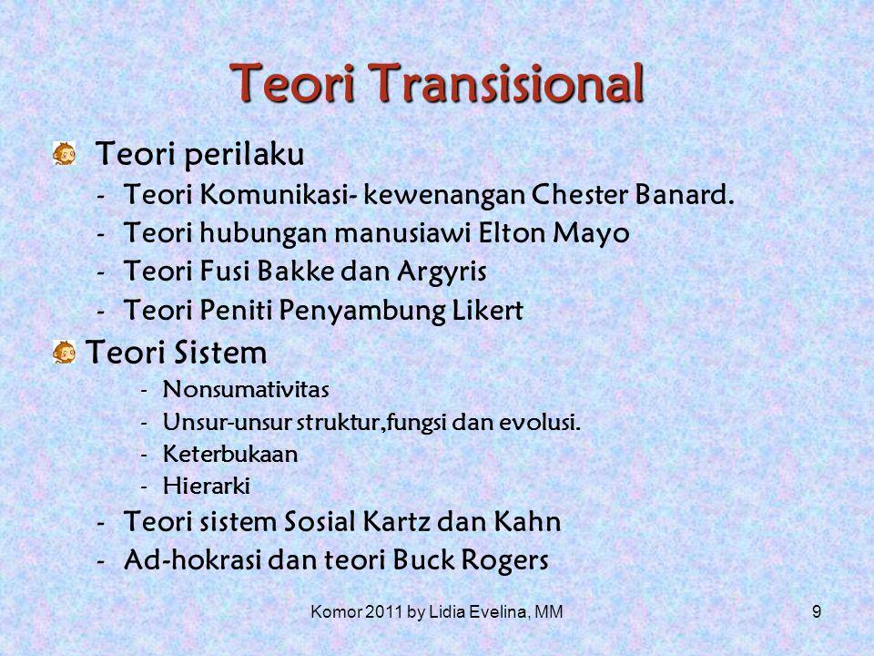 9 Teori Transisional Teori perilaku -Teori Komunikasi- kewenangan Chester Banard.