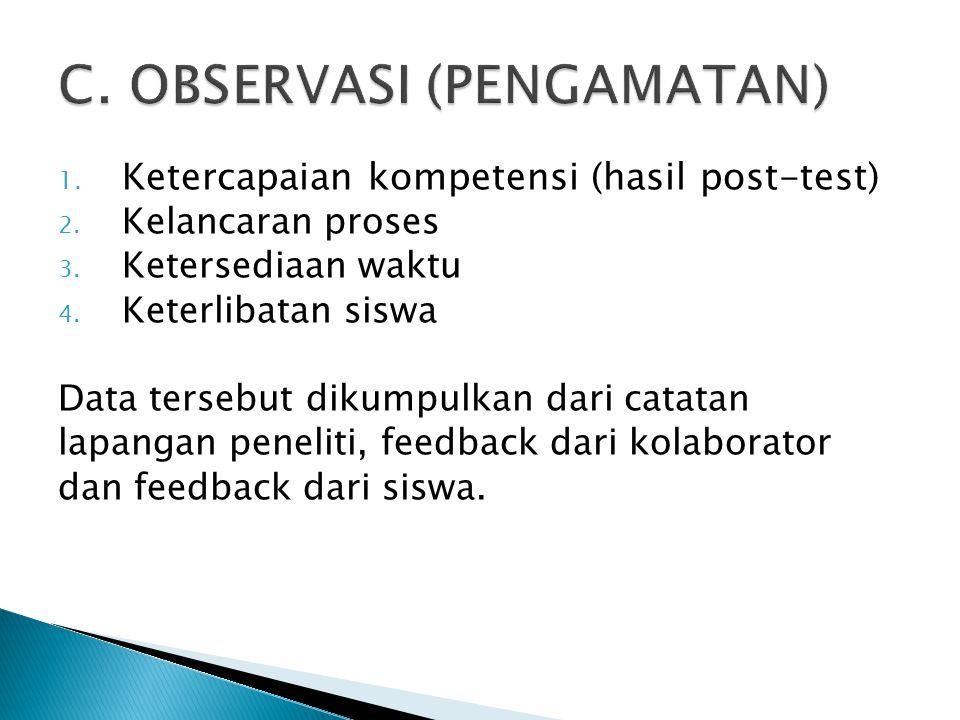 1. Ketercapaian kompetensi (hasil post-test) 2. Kelancaran proses 3. Ketersediaan waktu 4. Keterlibatan siswa Data tersebut dikumpulkan dari catatan l