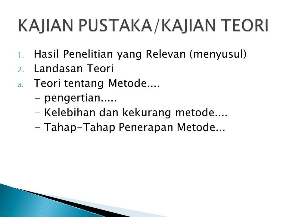 1. Hasil Penelitian yang Relevan (menyusul) 2. Landasan Teori a. Teori tentang Metode.... - pengertian..... - Kelebihan dan kekurang metode.... - Taha