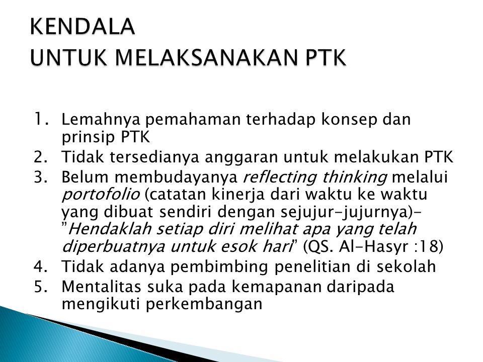 1. Lemahnya pemahaman terhadap konsep dan prinsip PTK 2. Tidak tersedianya anggaran untuk melakukan PTK 3. Belum membudayanya reflecting thinking mela