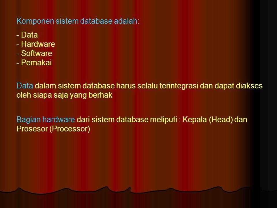 Ada tiga kelas pemakai dalam sistem database yaitu: Programmer, pemakai akhir (end user) dan database administrator