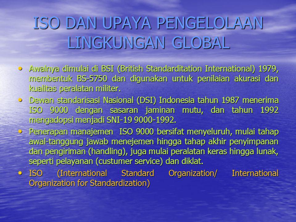 ISO DAN UPAYA PENGELOLAAN LINGKUNGAN GLOBAL Awalnya dimulai di BSI (British Standarditation International) 1979, membentuk BS-5750 dan digunakan untuk