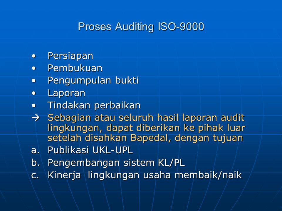 Proses Auditing ISO-9000 PersiapanPersiapan PembukuanPembukuan Pengumpulan buktiPengumpulan bukti LaporanLaporan Tindakan perbaikanTindakan perbaikan