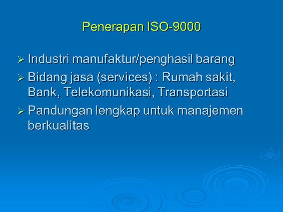 Penerapan ISO-9000  Industri manufaktur/penghasil barang  Bidang jasa (services) : Rumah sakit, Bank, Telekomunikasi, Transportasi  Pandungan lengk