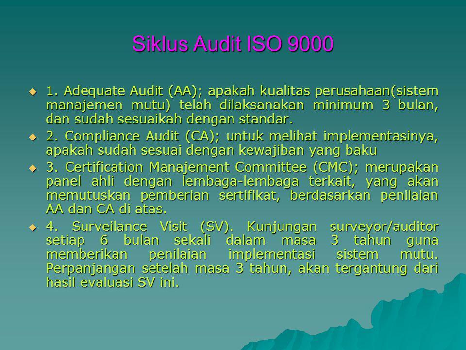 Siklus Audit ISO 9000  1. Adequate Audit (AA); apakah kualitas perusahaan(sistem manajemen mutu) telah dilaksanakan minimum 3 bulan, dan sudah sesuai