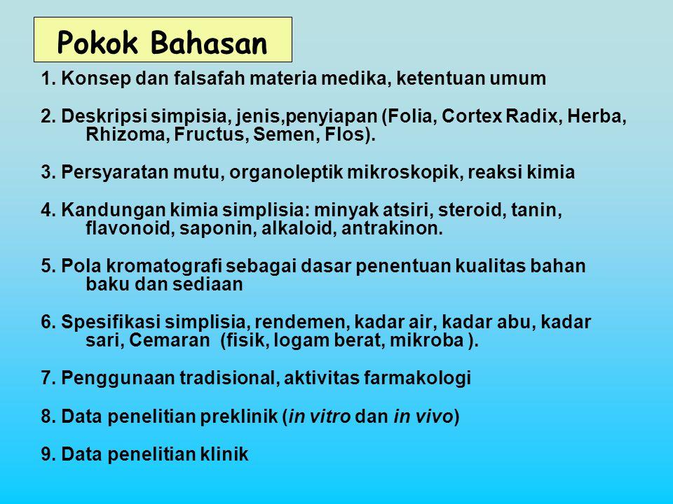 Daftar Pustaka 1.Departemen Kesehatan RI, Materia Medika Indonesia, Jilid 1-6 2.Bradley P.