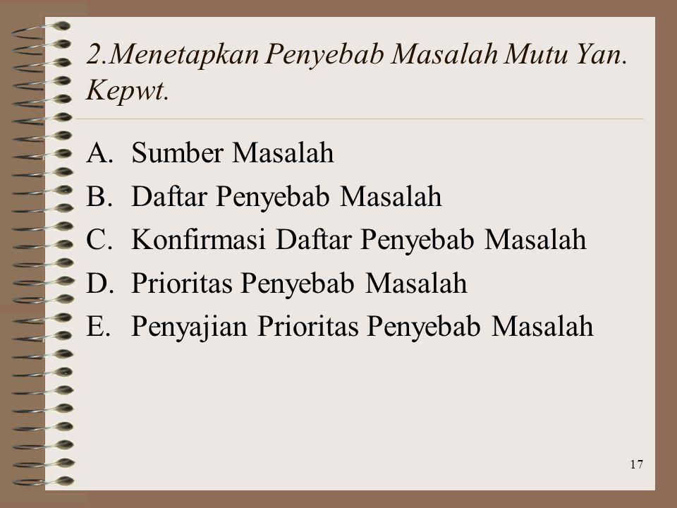 17 2.Menetapkan Penyebab Masalah Mutu Yan.Kepwt.