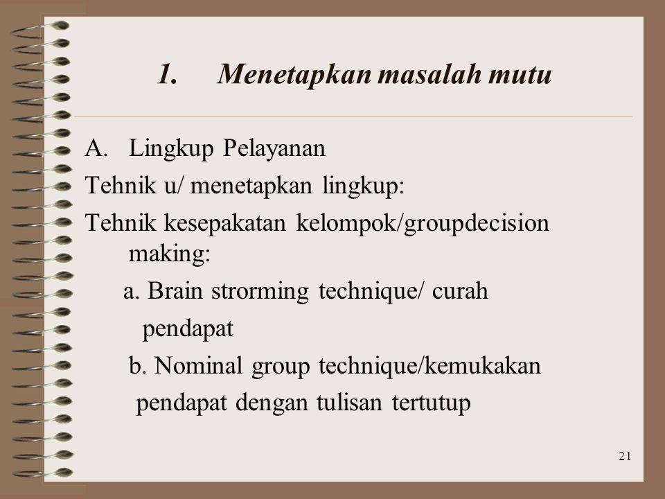 21 1.Menetapkan masalah mutu A.Lingkup Pelayanan Tehnik u/ menetapkan lingkup: Tehnik kesepakatan kelompok/groupdecision making: a.