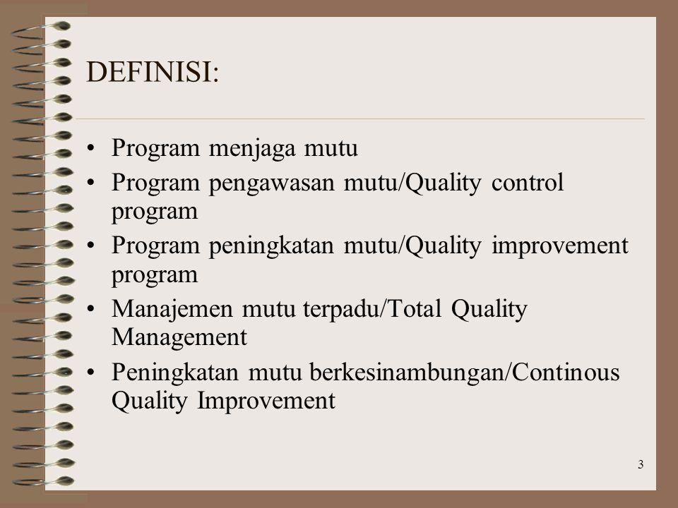 3 DEFINISI: Program menjaga mutu Program pengawasan mutu/Quality control program Program peningkatan mutu/Quality improvement program Manajemen mutu terpadu/Total Quality Management Peningkatan mutu berkesinambungan/Continous Quality Improvement