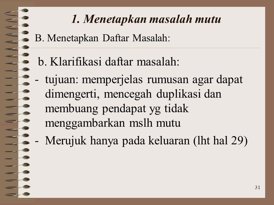 31 1.Menetapkan masalah mutu b.