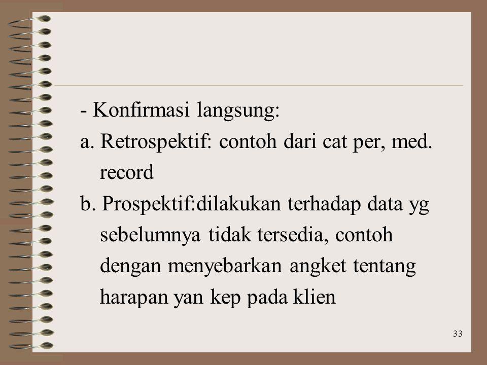 33 - Konfirmasi langsung: a.Retrospektif: contoh dari cat per, med.
