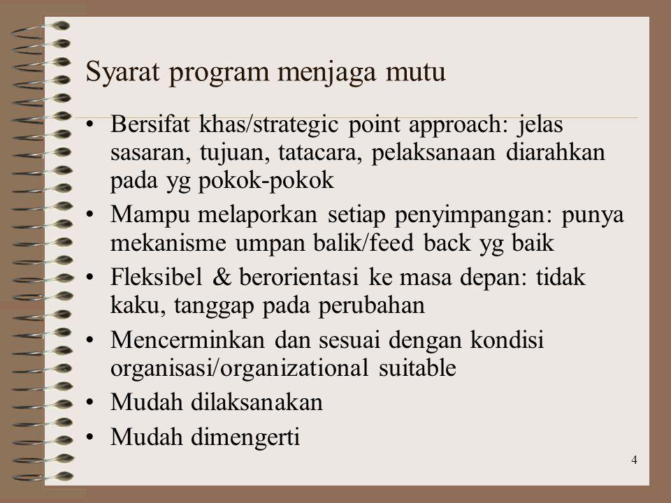 4 Syarat program menjaga mutu Bersifat khas/strategic point approach: jelas sasaran, tujuan, tatacara, pelaksanaan diarahkan pada yg pokok-pokok Mampu melaporkan setiap penyimpangan: punya mekanisme umpan balik/feed back yg baik Fleksibel & berorientasi ke masa depan: tidak kaku, tanggap pada perubahan Mencerminkan dan sesuai dengan kondisi organisasi/organizational suitable Mudah dilaksanakan Mudah dimengerti