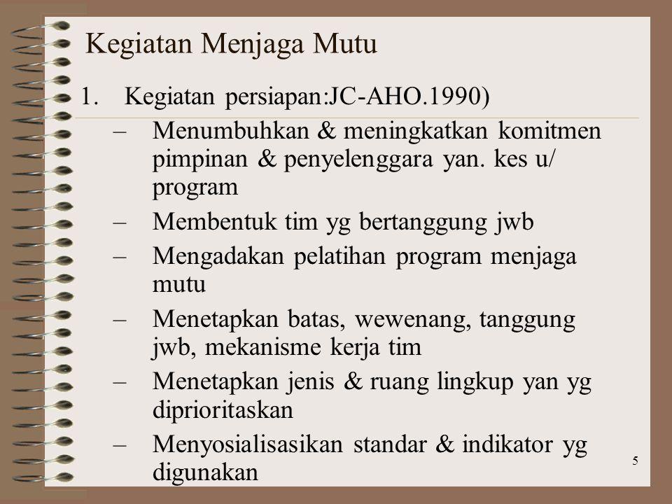 5 Kegiatan Menjaga Mutu 1.Kegiatan persiapan:JC-AHO.1990) –Menumbuhkan & meningkatkan komitmen pimpinan & penyelenggara yan.