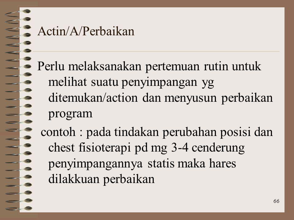 66 Actin/A/Perbaikan Perlu melaksanakan pertemuan rutin untuk melihat suatu penyimpangan yg ditemukan/action dan menyusun perbaikan program contoh : pada tindakan perubahan posisi dan chest fisioterapi pd mg 3-4 cenderung penyimpangannya statis maka hares dilakkuan perbaikan