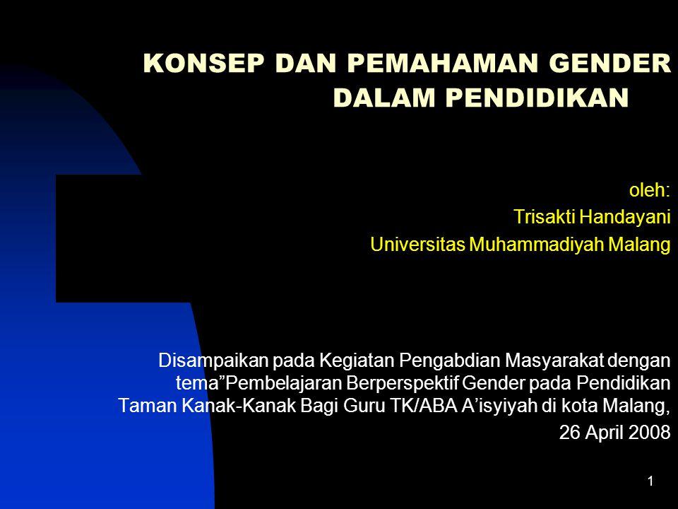 11 Kenyataan di masyarakat Terjadi banyak ketimpangan& ketidakadilan gender tidak hanya dialami oleh perempuan tetapi juga oleh laki-laki