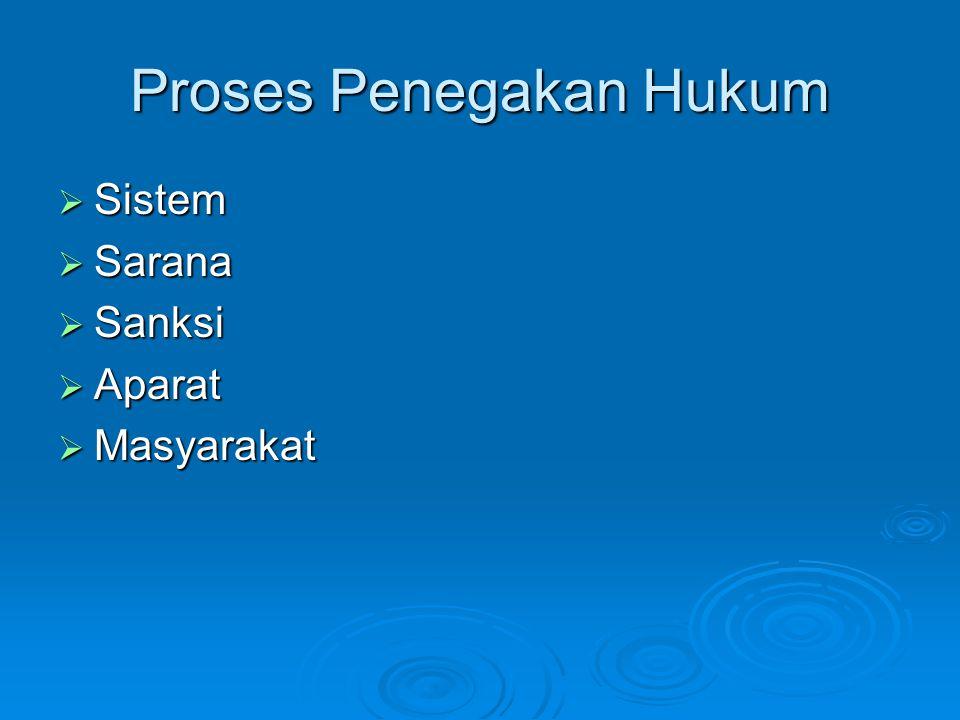 Proses Penegakan Hukum  Sistem  Sarana  Sanksi  Aparat  Masyarakat