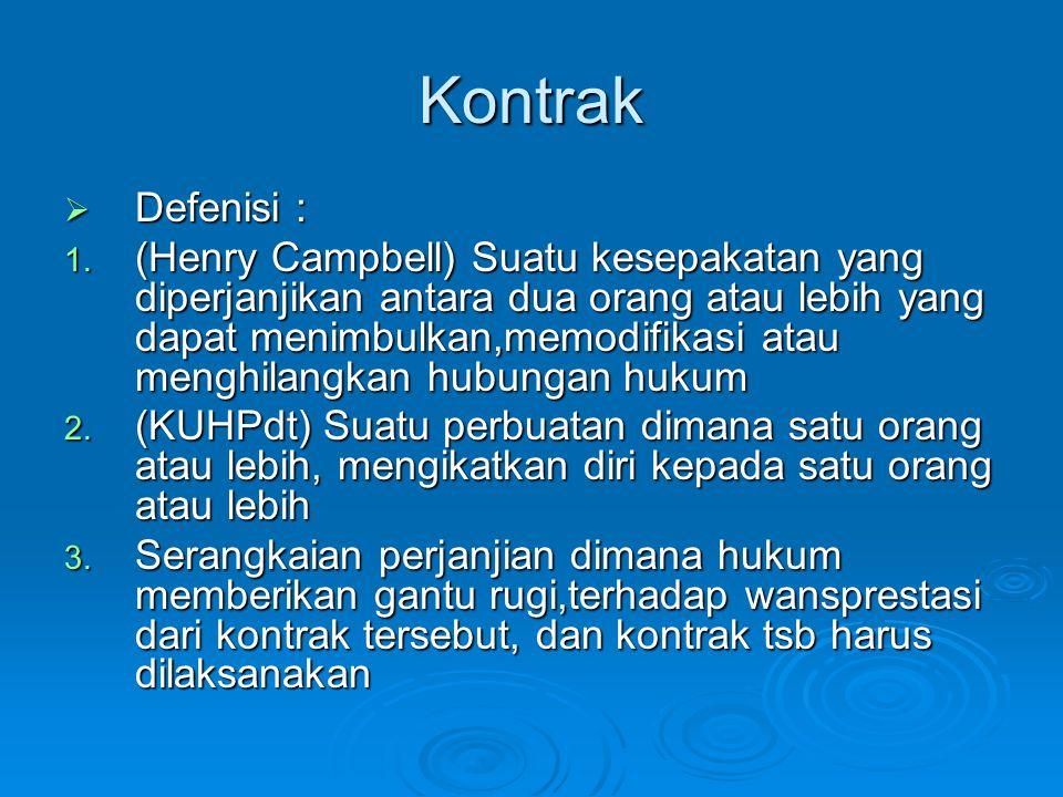 Kontrak  Defenisi : 1. (Henry Campbell) Suatu kesepakatan yang diperjanjikan antara dua orang atau lebih yang dapat menimbulkan,memodifikasi atau men