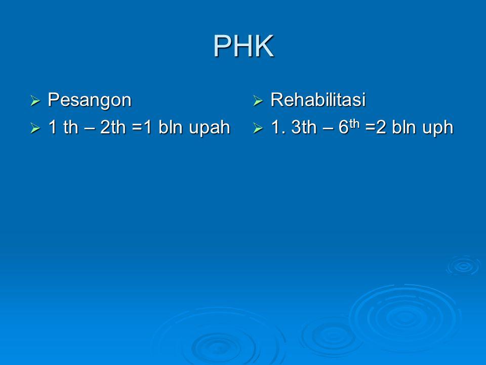 PHK  Pesangon  1 th – 2th =1 bln upah  Rehabilitasi  1. 3th – 6 th =2 bln uph