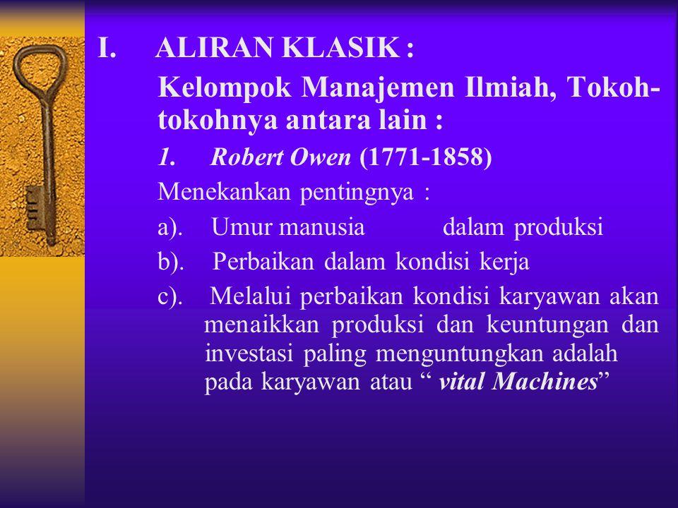 3. PERKEMBANGAN TEORI MANAJEMEN Ada 3 aliran pemikiran manajemen yaitu 1. Aliran Klasik : a. Manajemen Ilmiah b. Teori Organisasi Klasik 2.Aliran Hubu