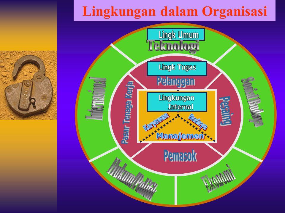 4. MANAJER DAN LINGKUNGAN ORGANISASI 1. Lingkungan Internal Organisasi (Internal Environment) yaitu Lingkungan yang berada di dalam organisasi yang te
