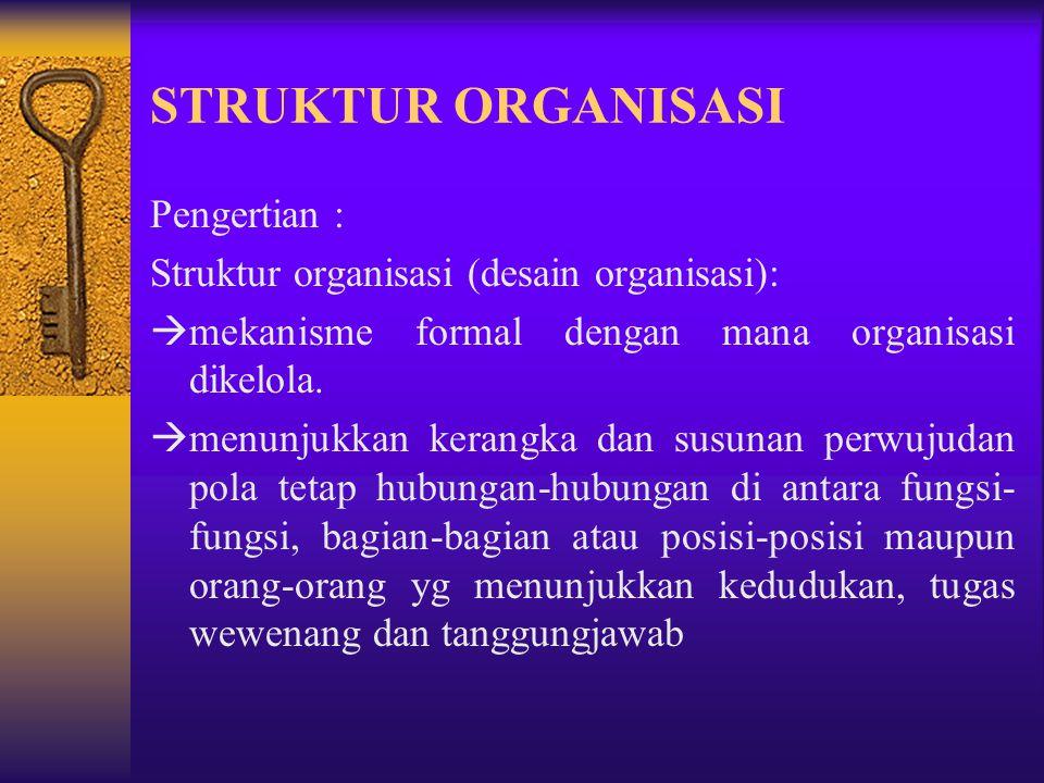 Pelaksanaan proses pengorganisasian yang sukses, akan membuat suatu organisasi dapat mencapai tujuannya, yg tercermin pada struktur organisasi yg menc