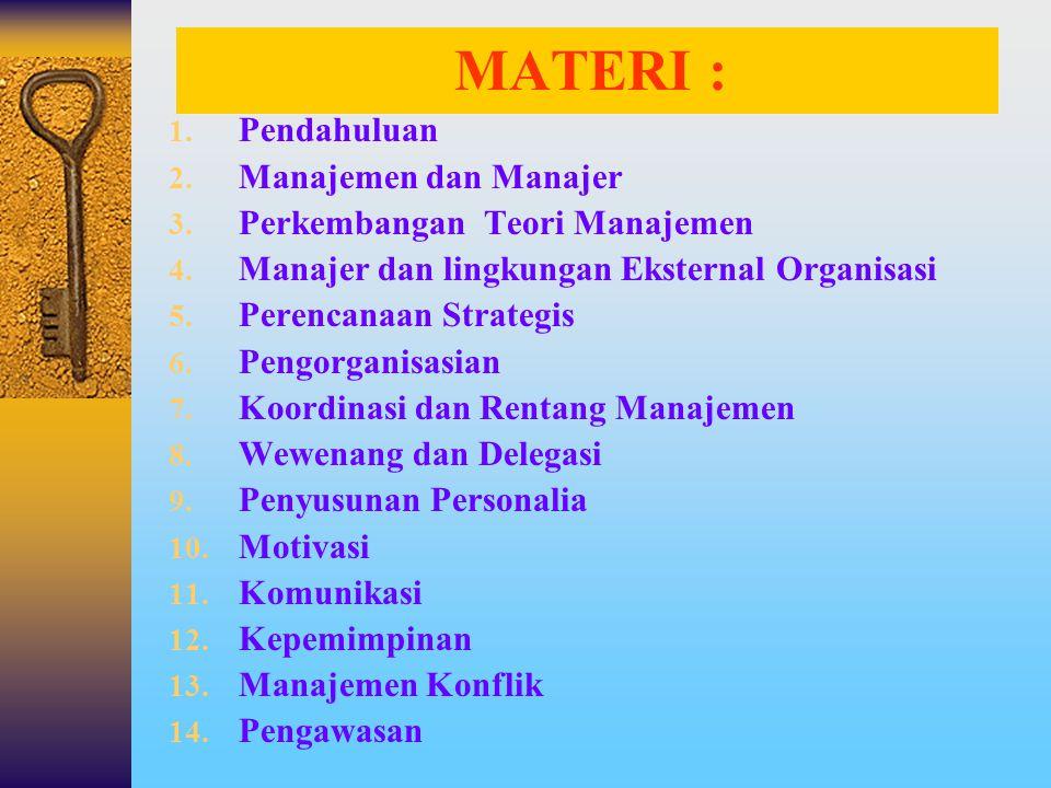 MATERI : 1.Pendahuluan 2. Manajemen dan Manajer 3.