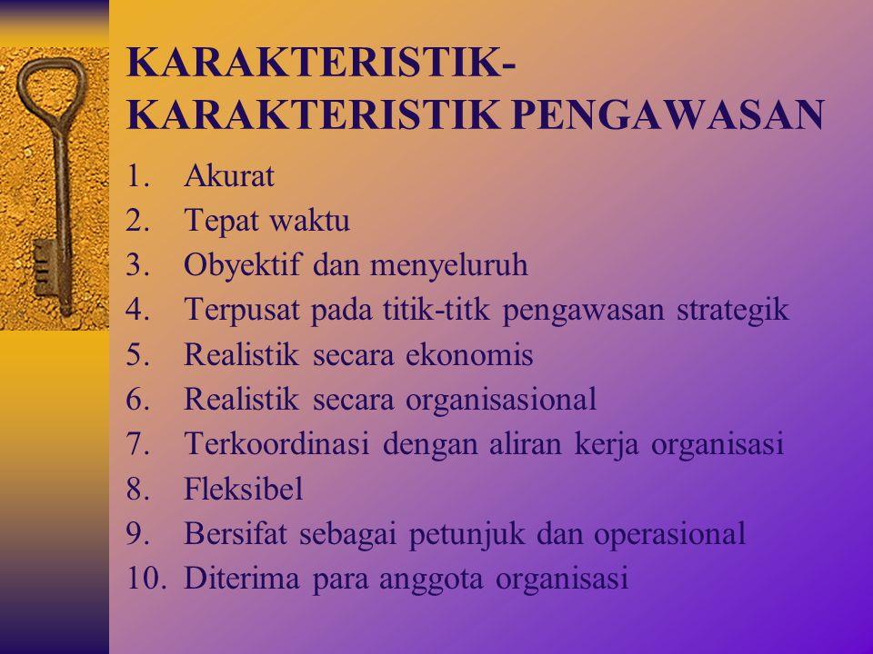 TAHAP-TAHAP PENGAWASAN 1.Penetapan standar pelaksanaan (perencanaan) 2.Penentuan pengukuran pelaksanaan kegiatan 3.Pengukuran pelaksanaan kegiatan 4.P