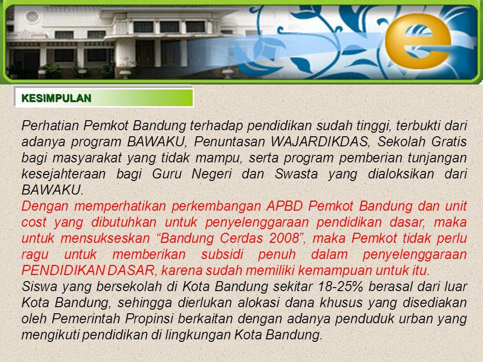 Perhatian Pemkot Bandung terhadap pendidikan sudah tinggi, terbukti dari adanya program BAWAKU, Penuntasan WAJARDIKDAS, Sekolah Gratis bagi masyarakat yang tidak mampu, serta program pemberian tunjangan kesejahteraan bagi Guru Negeri dan Swasta yang dialoksikan dari BAWAKU.